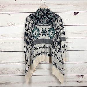 Blue + Cream Western Boho Open Cardigan knitted M